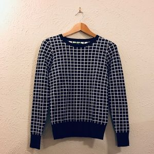 C. Wonder Windowpane Sweater in Black + White XXS